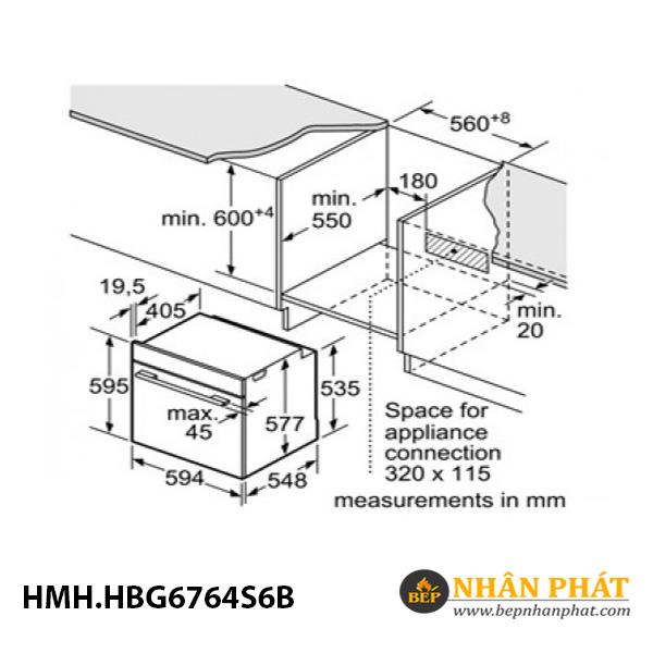 Lò nướng âm tủ home connect Bosch 71 lít HMH.HBG6764S6B Serie 8 5