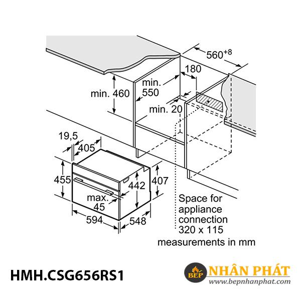 Lò nướng kết hợp hấp âm tủ Bosch 47 lít HMH.CSG656RS1 Serie 8 5