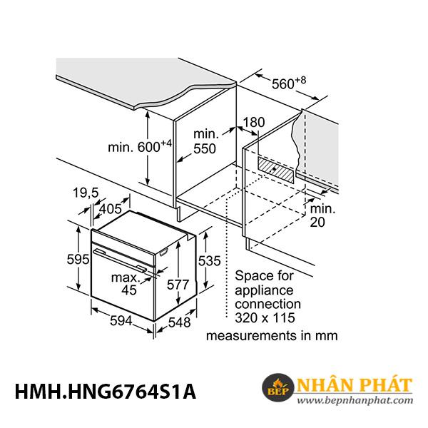 Lò nướng kết hợp hấp/vi sóng âm tủ Bosch 67 lít HMH.HNG6764S1A Serie 8 5