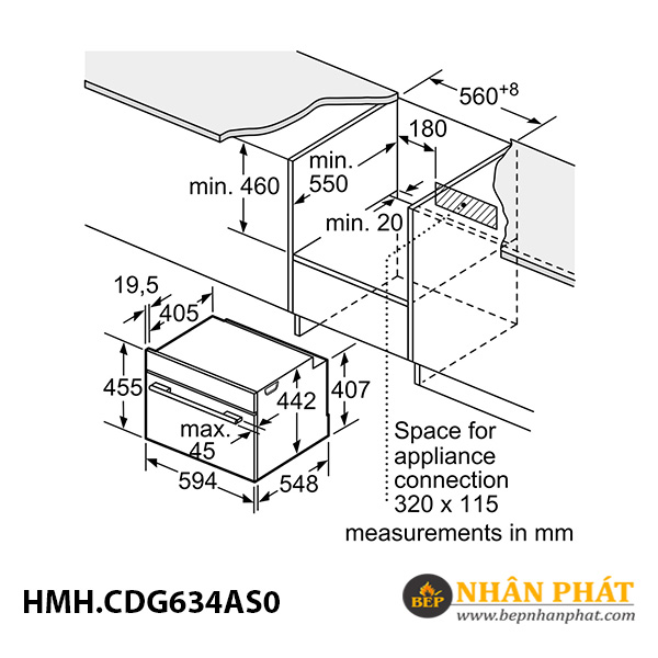 Lò hấp âm tủ Bosch 38 lít HMH.CDG634AS0 Serie 8 5