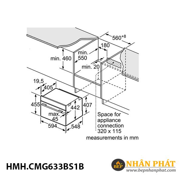 Lò nướng kết hợp vi sóng âm tủ Bosch 45 lít HMH.CMG633BS1B Serie 8 5