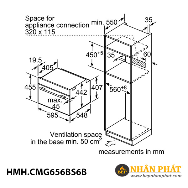 Lò nướng kết hợp vi sóng âm tủ Bosch 45 lít HMH.CMG656BS6B Serie 8 5