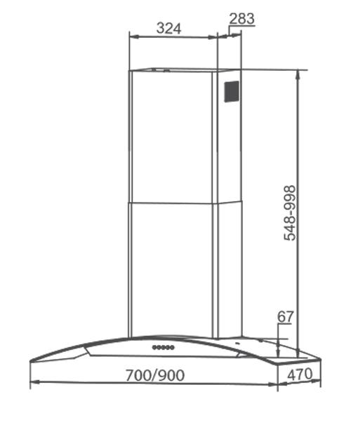 Máy hút mùi kính cong Canzy CZ 1870 5