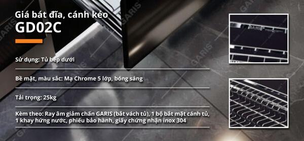 Giá bát đĩa nan vuông cánh kéo inox 304 bề mặt mạ chrome Garis GD02.60C 4