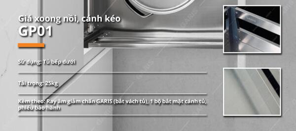 Giá xoong nồi nan dạng hộp inox tấm cánh kéo Garis GP01.60 5