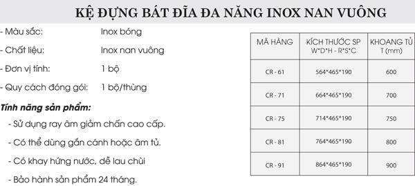 Kệ đựng bát đĩa đa năng inox nan vuông Grob CR-61/CR-71/CR-75/CR-81/CR-91 4