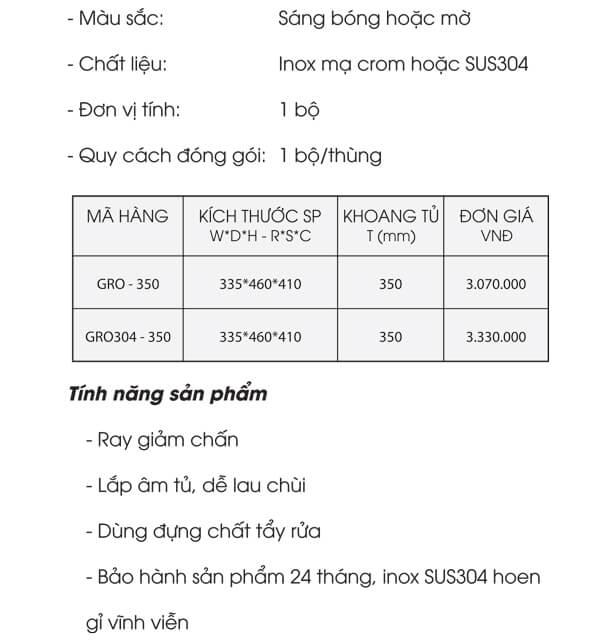 Kệ đựng chất tẩy rửa dạng sợi inox mạ crom Grob GRO-350/GRB304-350 4