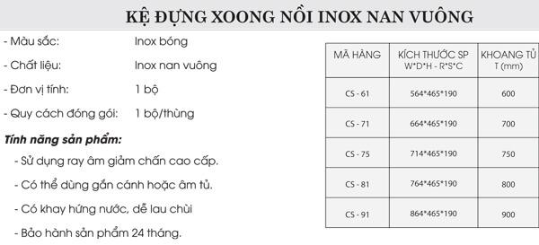 Kệ đựng xoong nồi inox mạ crom nan vuông Grob CS-61/CS-71/CS-75/CS-81/CS-91 4