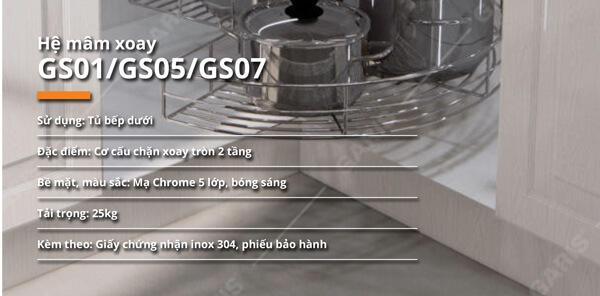 Mâm xoay góc mở 1/2 nan tròn inox 304 bề mặt mạ chrome Garis GS01.80C 5
