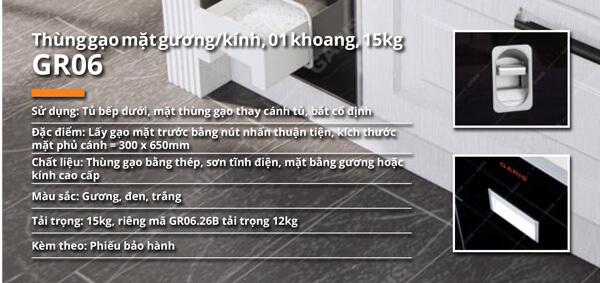 Thùng gạo mặt gương kính 1 khoang 15kg Garis GR06.30M 5