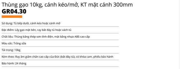 Thùng gạo nhựa abs cao cấp 1 khoang 10kg cánh mở/kéo Garis GR04.30 5