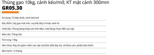 Thùng gạo nhựa abs cao cấp 1 khoang 10kg cánh kéo/mở Garis GR05.30 5