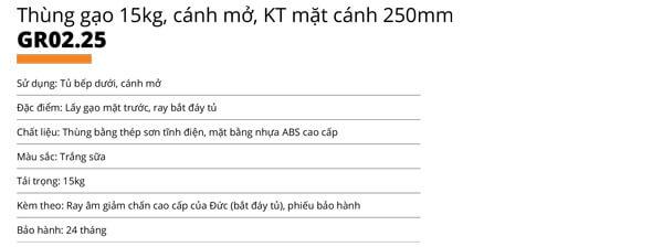 Thùng gạo nhựa abs cao cấp 1 khoang 15kg cánh mở Garis GR02.25 5
