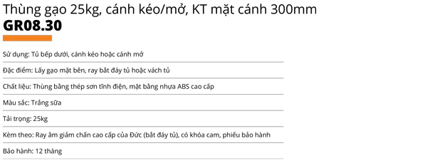 Thùng gạo nhựa abs cao cấp 1 khoang 25kg cánh kéo/mở Garis GR08.30 5