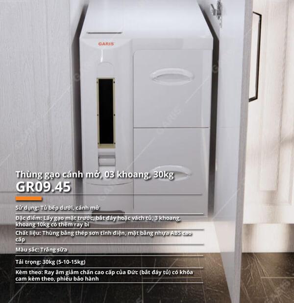 Thùng gạo nhựa abs cao cấp 3 khoang 30kg cánh mở Garis GR09.45 5