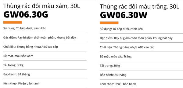 Thùng rác đôi nhựa ABS cao cấp 30L cánh kéo Garis GW06.30G/GW06.30W 5
