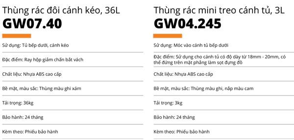Thùng rác đôi ghi xám bằng nhựa abs cao cấp 36L cánh kéo Garis GW07.40 5