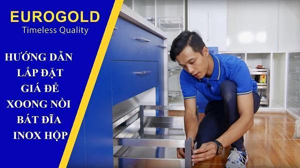 Hướng dẫn lắp đặt giá để xoong nồi bát đĩa inox hộp Eurogold 9