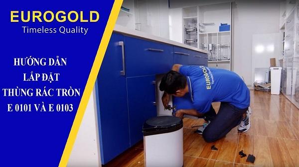 Hướng dẫn lắp đặt thùng rác tròn gắn cánh Eurogold E0101 và E0103 7