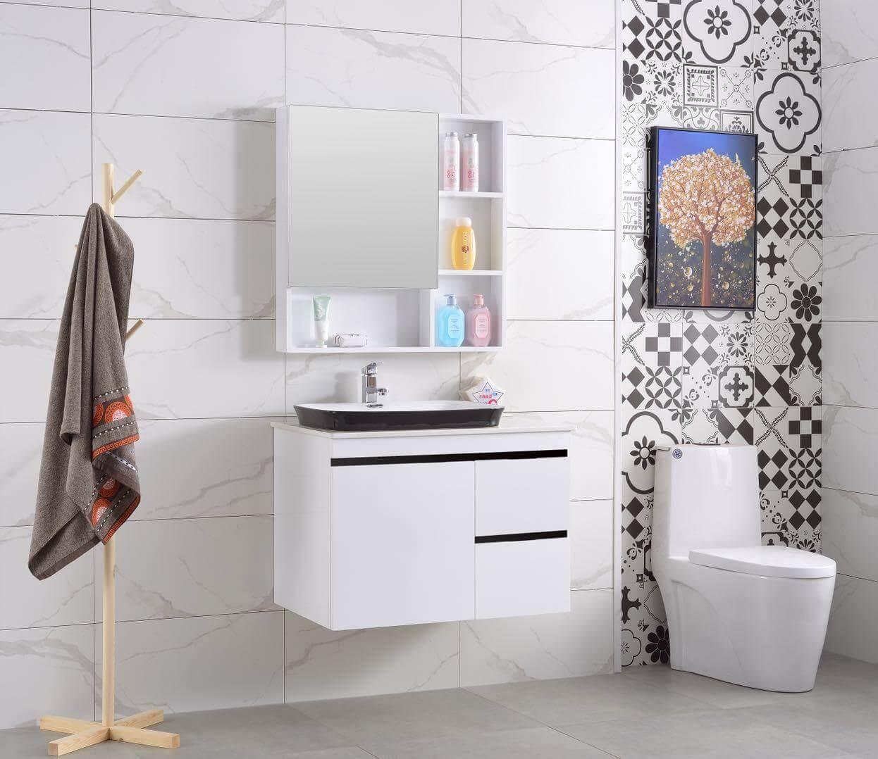 Bộ lavabo tủ gỗ nhựa cao cấp chống ẩm EF 800 3