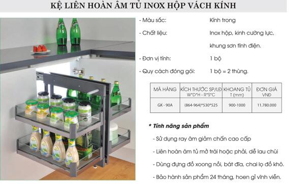 Kệ liên hoàn âm tủ inox hộp vách kính Grob GK-90A 4