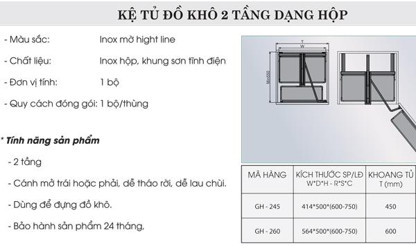 Kệ tủ đồ khô 2 tầng dạng hộp Grob GH-245 4