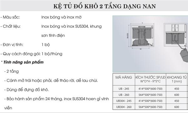 Tủ đồ khô 2 tầng inox bóng dạng nan Grob UB-245 4