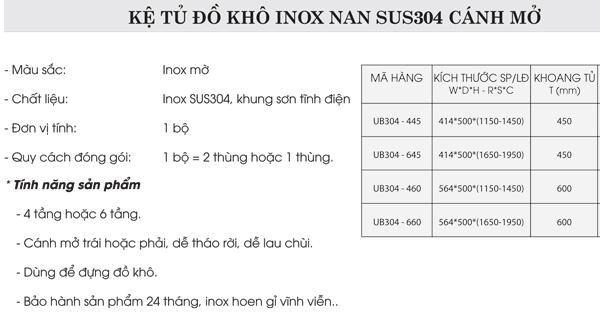 Tủ đồ khô 4 tầng inox nan mờ 304 cánh mở Grob UB304-445 4