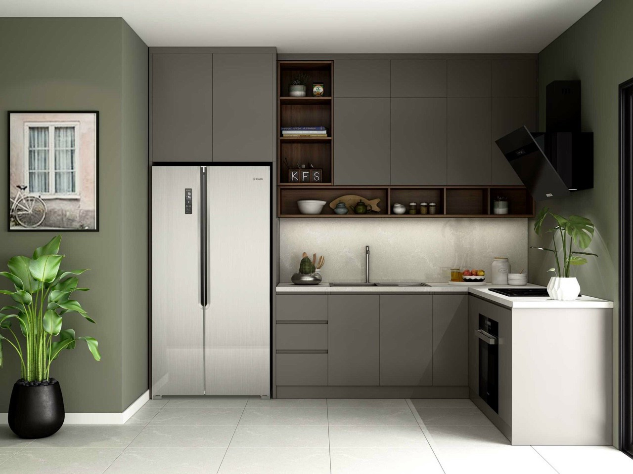 Mẫu tủ bếp Melamine 3