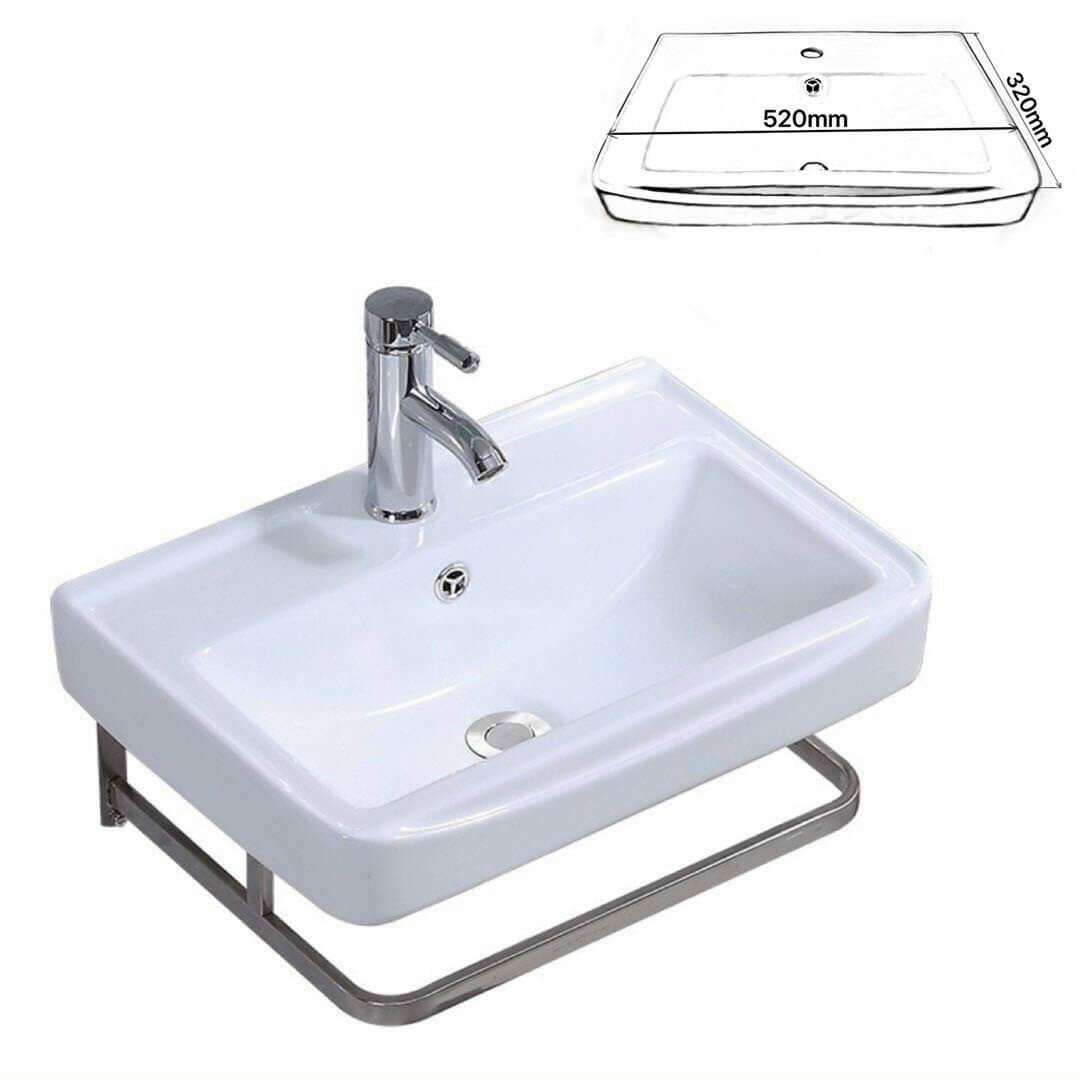 Chậu lavabo vuông chân treo inox 304 E5575-1 3