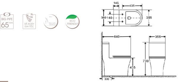 Bồn cầu 1 khối BASICS BS-SHORT 9