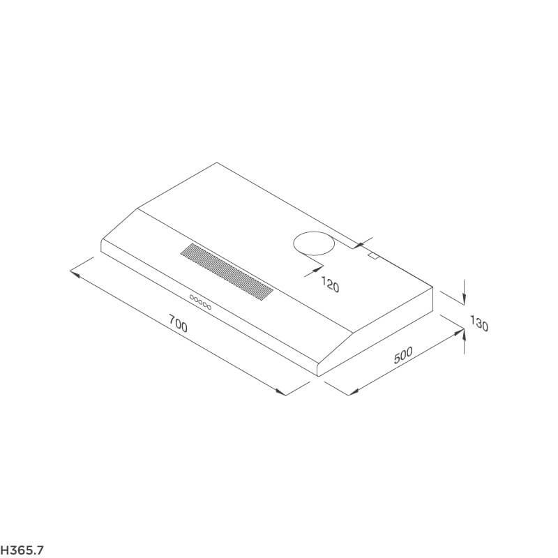 Máy hút khói khử mùi cổ điển Malloca H365.7 5