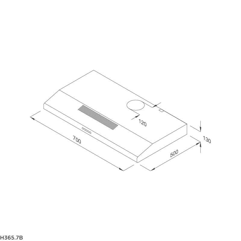 Máy hút khói khử mùi cổ điển Malloca H365.7B 5