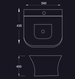 Chậu lavabo chân treo Eiffel E-5574 5