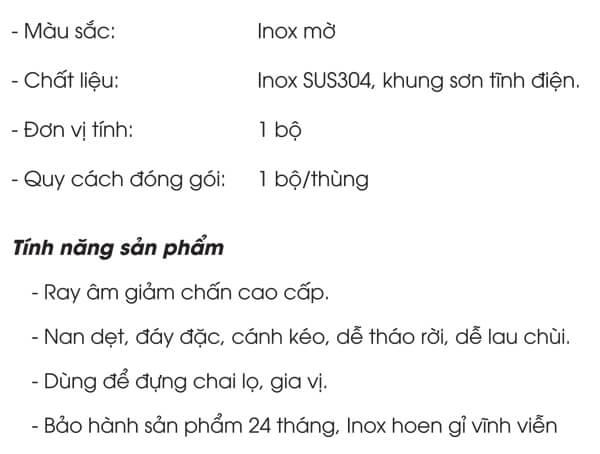 Kệ gia vị nan dẹt đáy đặc inox 304 Grob PV304-220.1/2 4