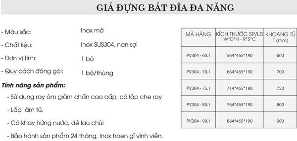 Giá đựng bát đĩa đa năng inox 304 Grob PV304-60.1 4