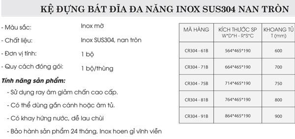 Kệ đựng bát đĩa đa năng inox 304 nan tròn Grob CR304-61B 4