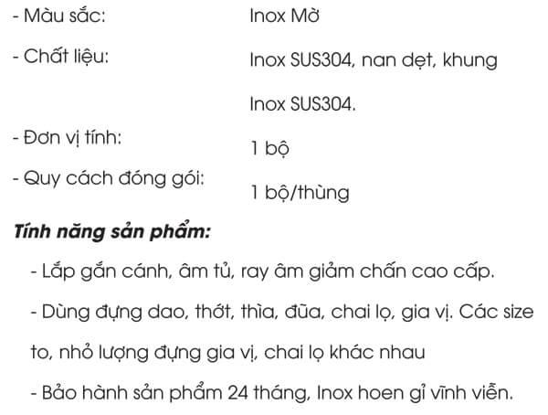 Kệ đựng gia vị nan dẹt inox 304 Grob GC304-20B.AT/GC304-25B.AT/GC304-30B.AT 4