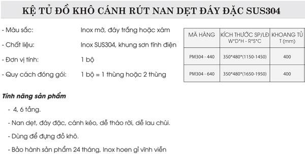 Kệ tủ đồ khô cánh rút nan dẹt đáy đặc inox 304 Grob PM304-440 4