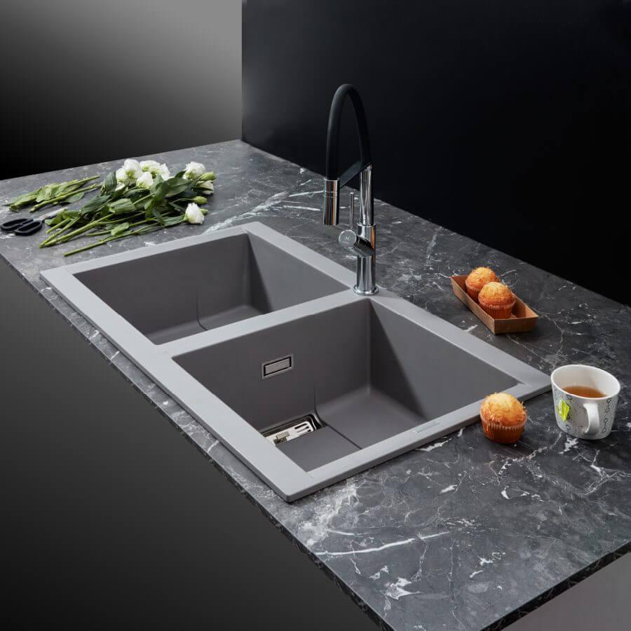 Chậu rửa chén đá granite nano Malloca SMART K-450 6