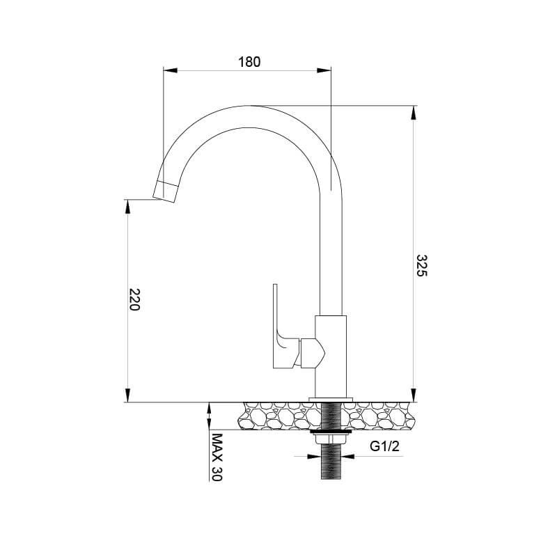 Vòi Rửa Chén Lạnh Đồng Thau Mạ Chrome Malloca K1603CL 5