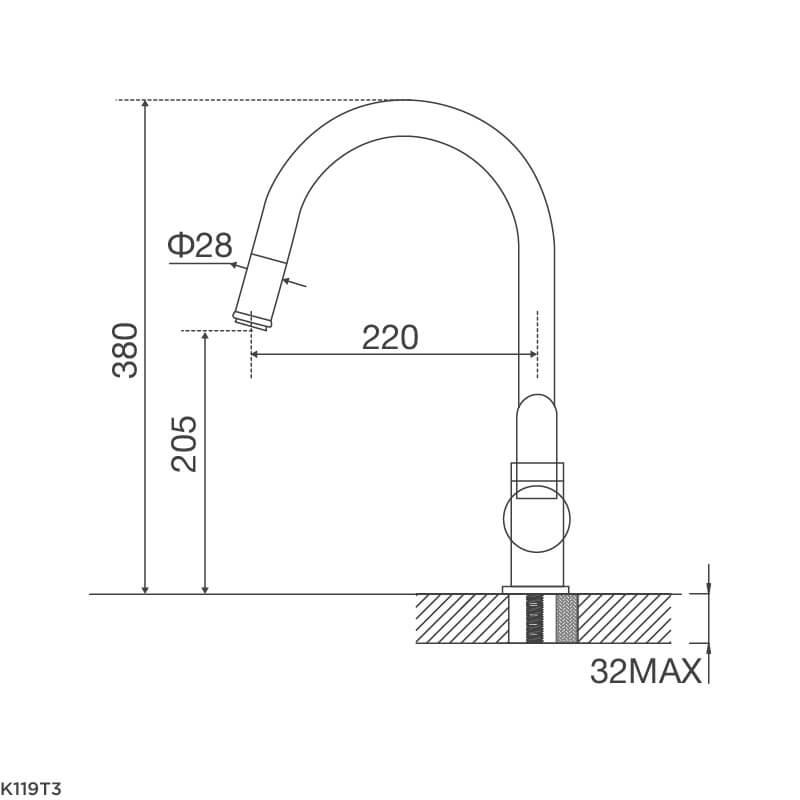 Vòi Rửa Chén NL Dây Rút Đồng Thau Mạ Chrome Malloca K119T3 5