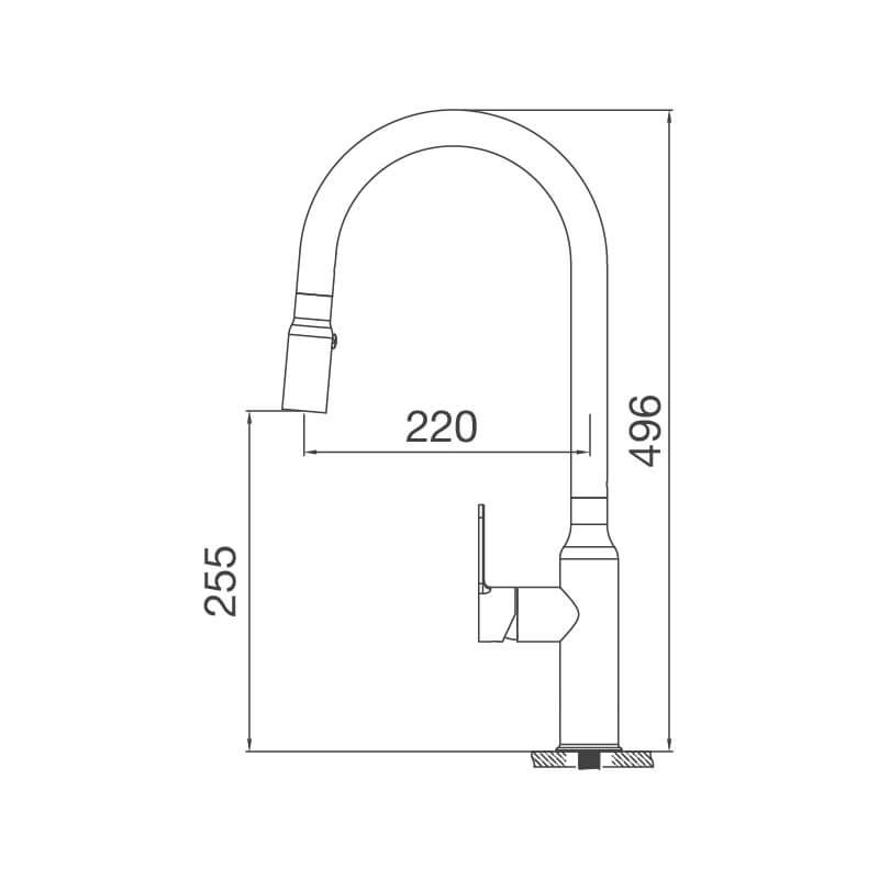 Vòi Rửa Chén NL Dây Rút Inox 304 Malloca K046-S 7