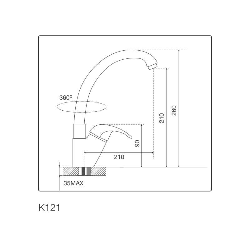 Vòi Rửa Chén NL Đồng Thau Mạ Chrome Malloca K121 5