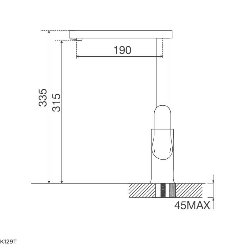Vòi Rửa Chén NL Đồng Thau Mạ Chrome Malloca K129T 5