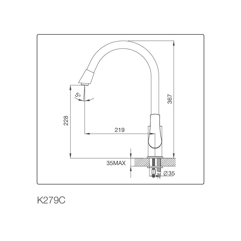 Vòi Rửa Chén NL Đồng Thau Mạ Chrome Malloca K279C 5