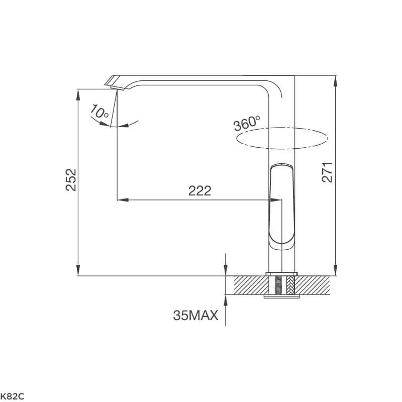 Vòi Rửa Chén NL Đồng Thau Mạ Chrome Malloca K82C 5