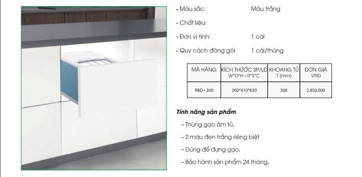 Thùng gạo âm tủ gắn cánh 1 ngăn Grob RBD-300 4