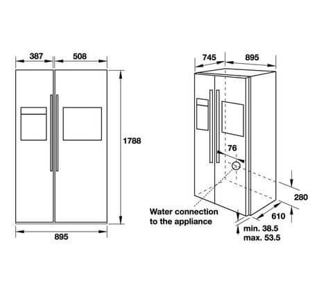 Tủ Lạnh Side By Side Hafele HF-SBSIB 534.14.250 5