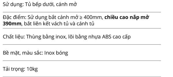 Thùng rác đơn vỏ inox lõi bằng nhựa ABS 10L cánh mở Garis GW05.10 5